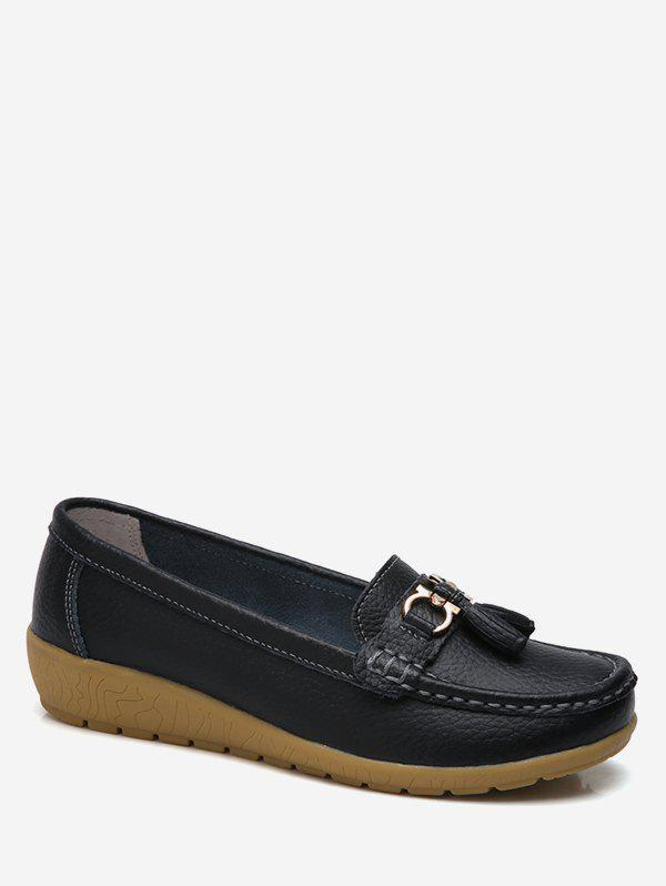 Trendy Metal Bow Loafer Shoes