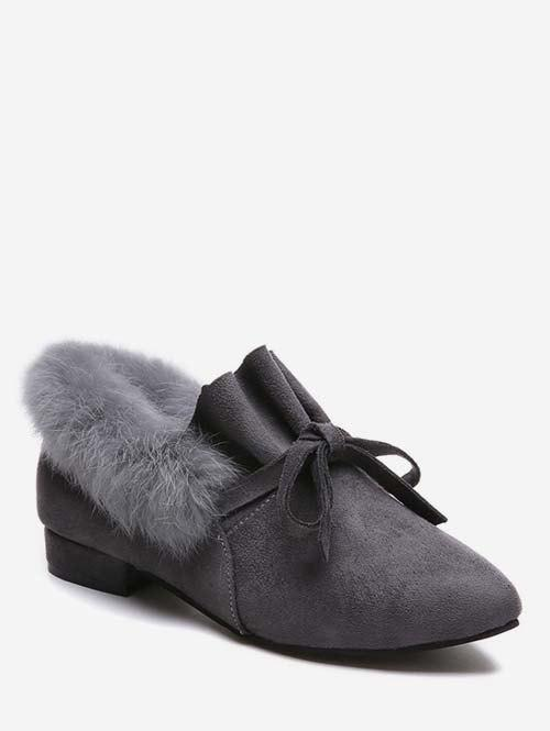 Latest Bow Ruffles Faux Fur Trim Loafer Shoes