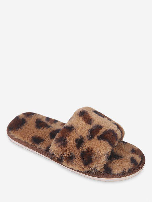 Affordable Leopard Print Faux Fur Slippers