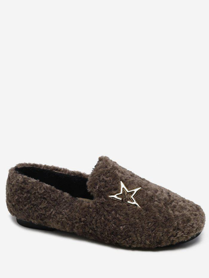 Affordable Metal Star Faux Fur Loafer Flats