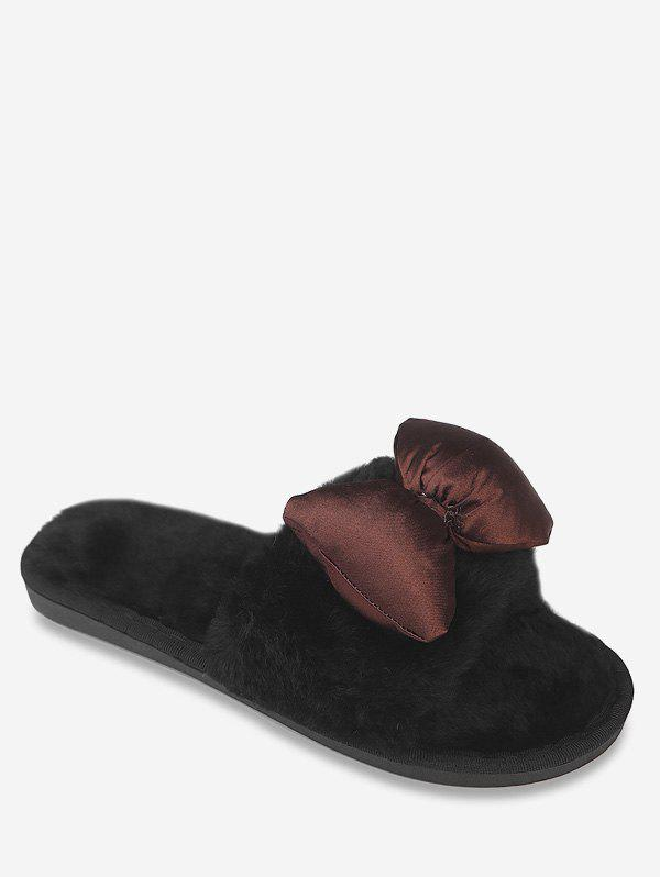Sale Bowknot Faux Fur Indoor Slippers