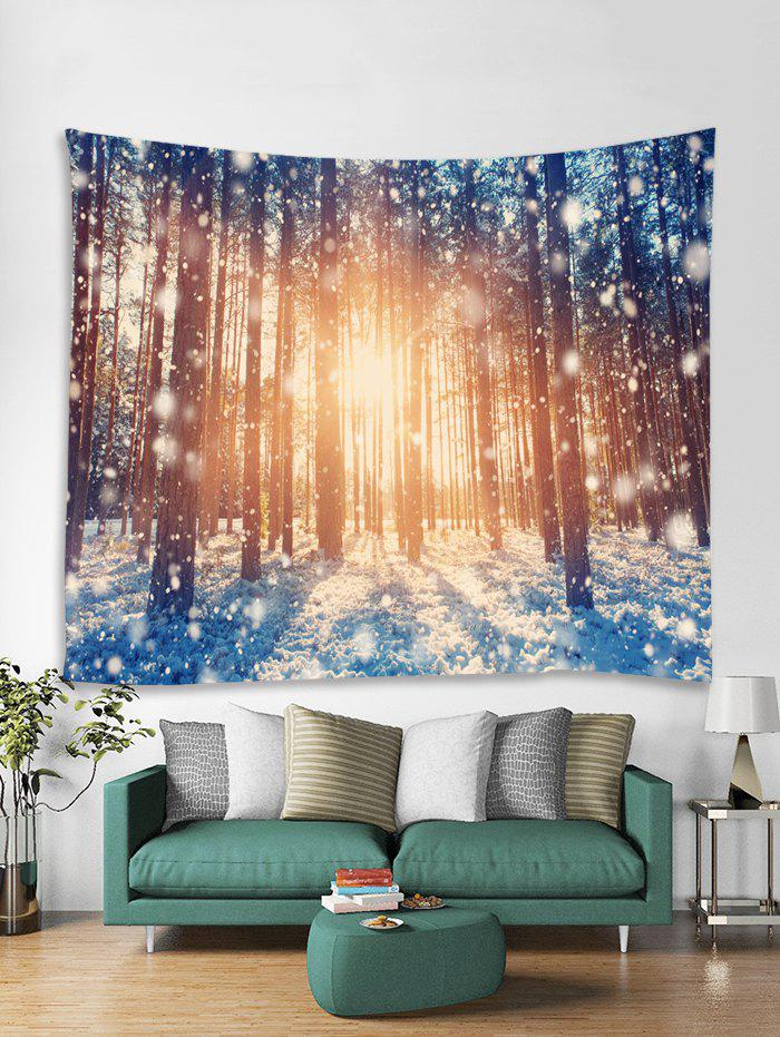Trendy Snow Forest Sunshine Pattern Tapestry Art Decoration