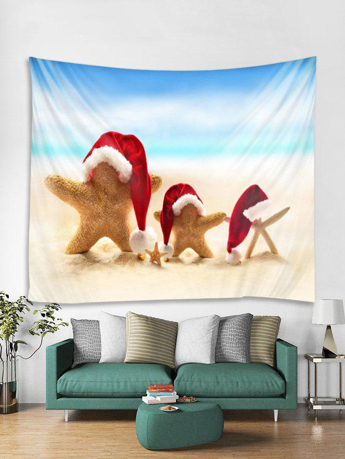 Discount Christmas Beach Starfish Print Tapestry Wall Hanging Decoration
