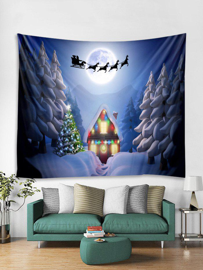Trendy Christmas Night House Print Tapestry Wall Hanging Decor