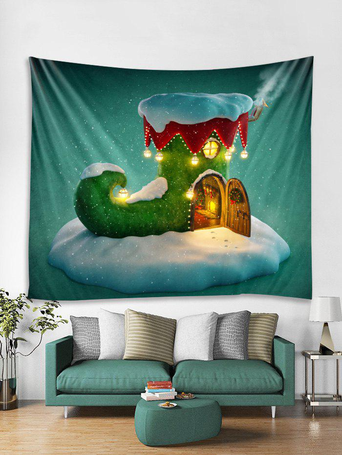 Cheap Christmas Boot House Print Tapestry Wall Hanging Decor