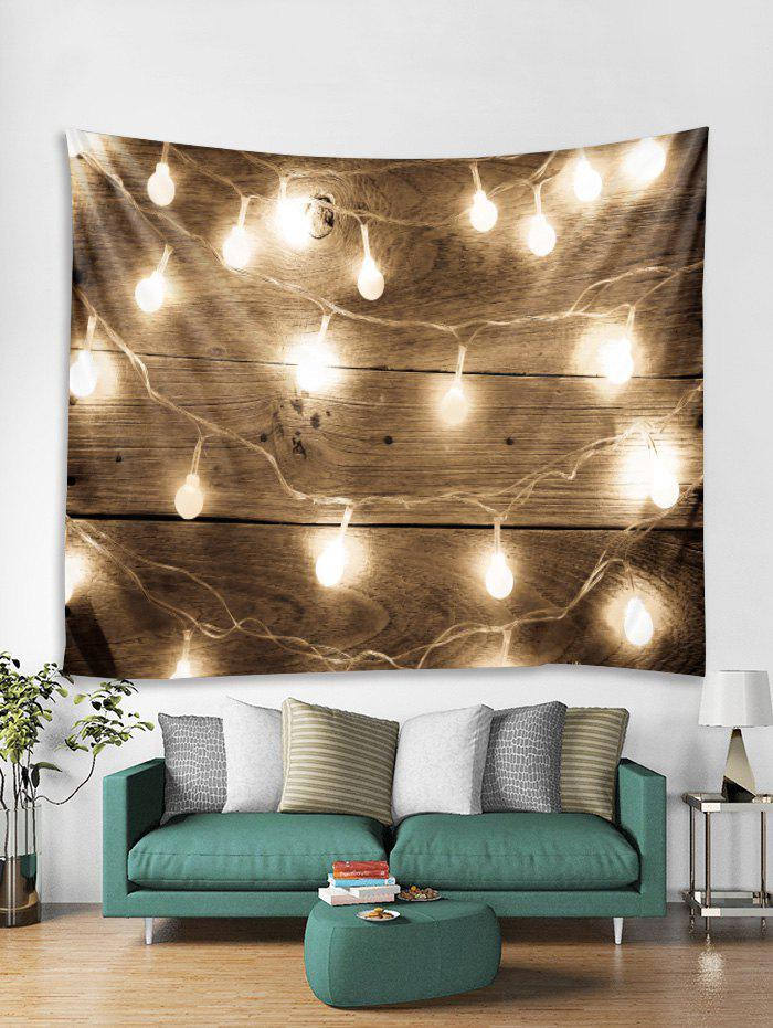 Trendy Wood Grain String Light Print Tapestry Wall Hanging Decoration