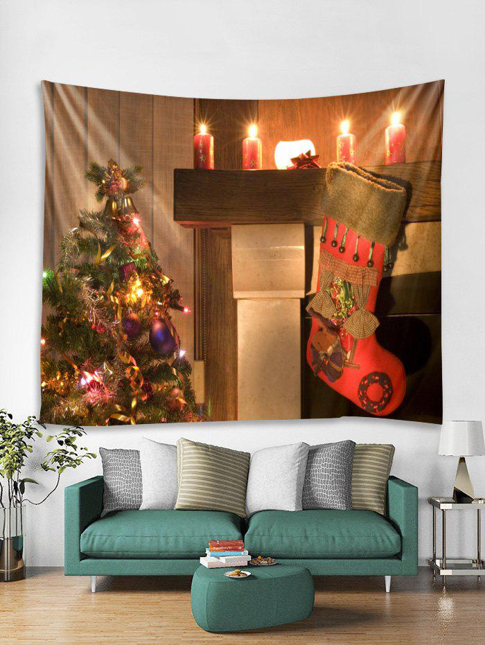Chic Christmas Tree Candles Print Tapestry Wall Hanging Decoration