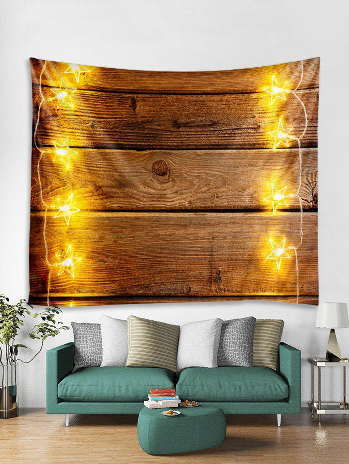 Trendy Christmas Light Wood Grain Print Tapestry Wall Hanging Decor