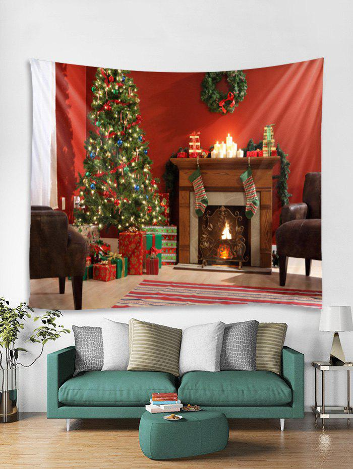 Online Christmas Tree Fireplace Print Tapestry Wall Hanging Art Decor