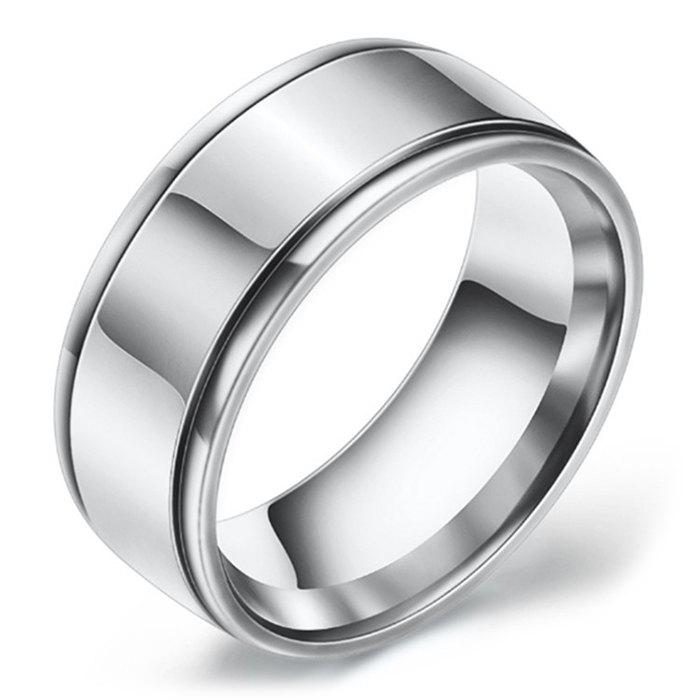 Fashion Mirrored Two-slot Stainless Steel Ring