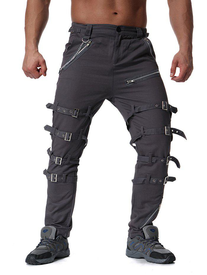 Outfit Trend Men's Youth Personality Metal Decoration Casual Trousers