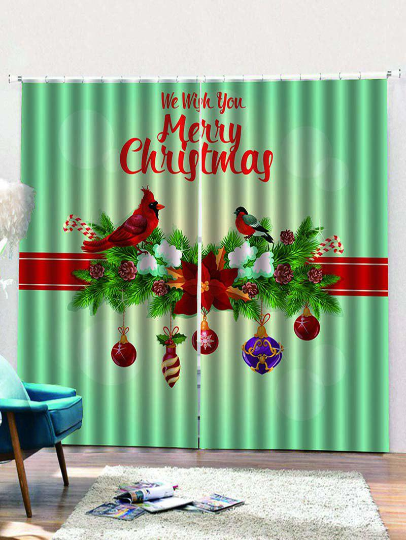 Hot 2PCS Merry Christmas Floral Bird Window Curtains