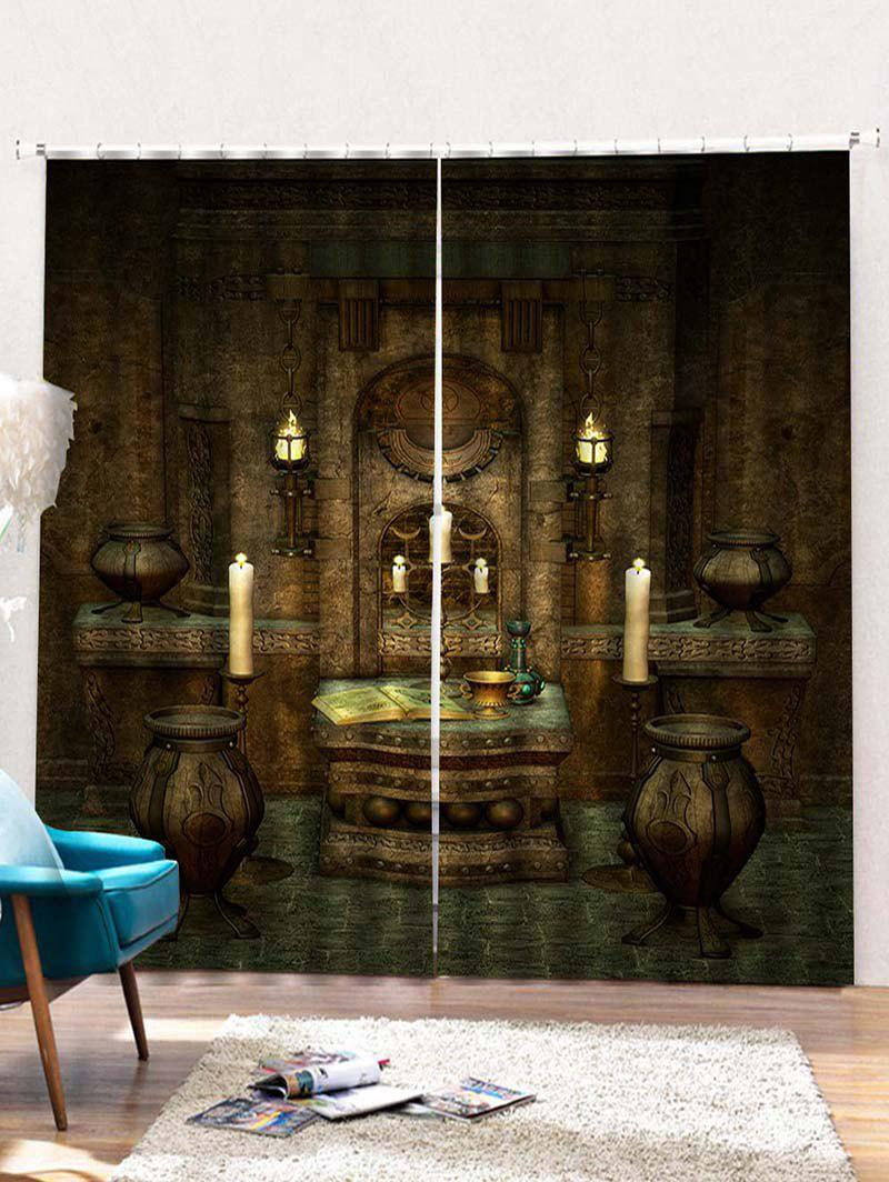Fancy 2PCS Vintage Pattern Window Curtains