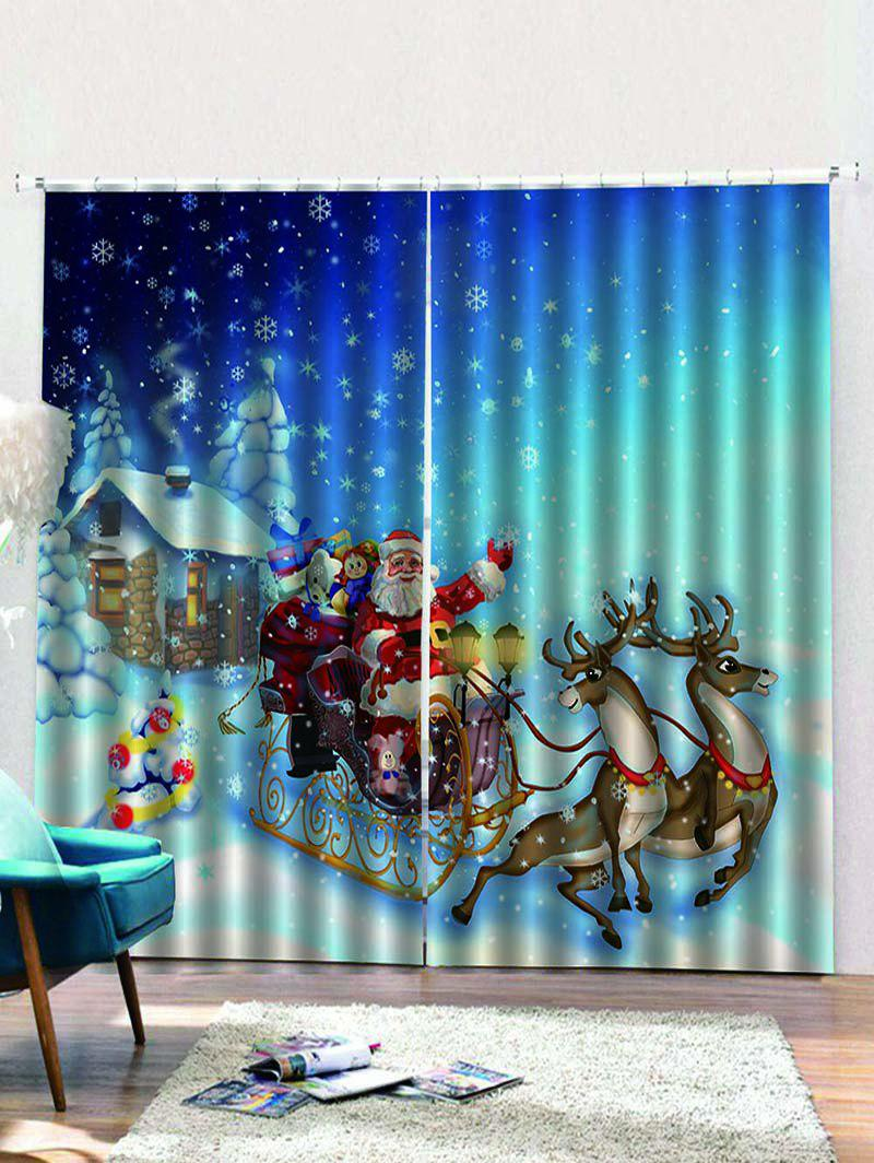 Outfits 2PCS Father Christmas Deer Gift Window Curtains