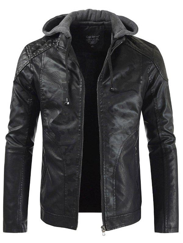 Discount Fashion Hooded Casual Faux Leather Stitching PU Jacket