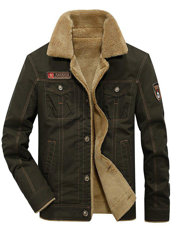 Shops Men's Casual Washed Cotton Military Plus Velvet Thick Jacket