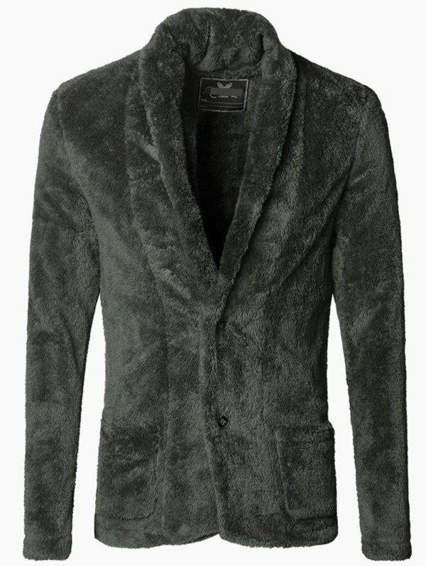 Affordable Men Fashionable Thicken Plush Cardigan Suit Jacket