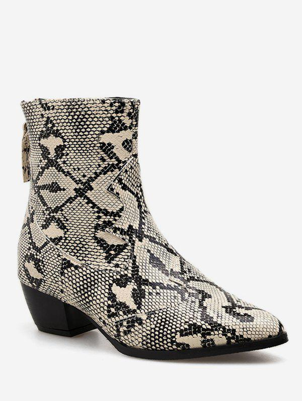Online Snake Print  Pointed Toe Ankle Boots