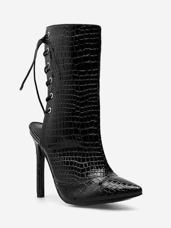 Affordable Snake Print Lacing Back Heeled Boots