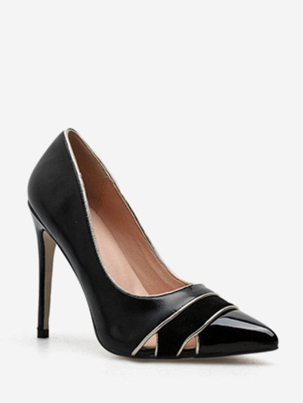 Shops Cut Out Striped Pointed Toe Pumps