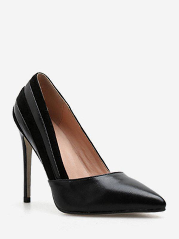 New Suede Stripe Pointed Toe Pumps