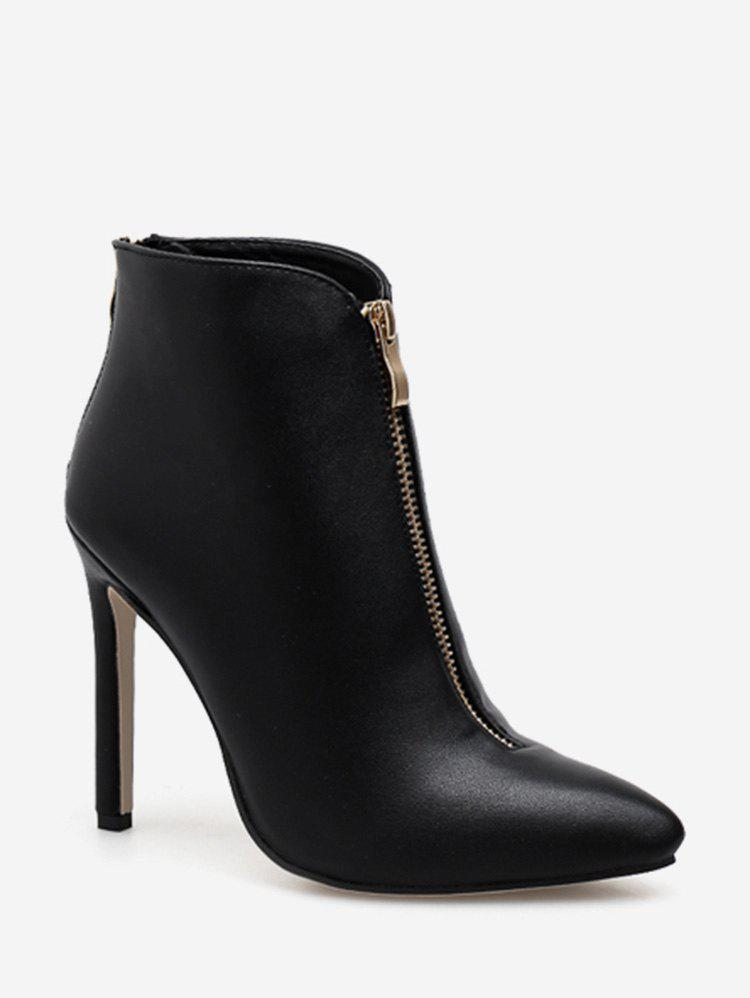 Cheap Front Zip Pointed Toe Ankle Boots