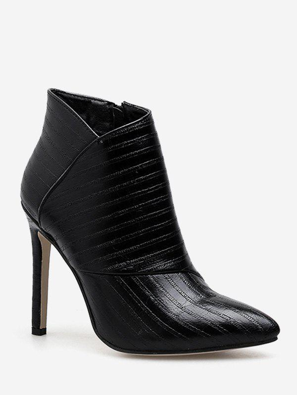 Fancy Stripe Textured High Heel Ankle Boots