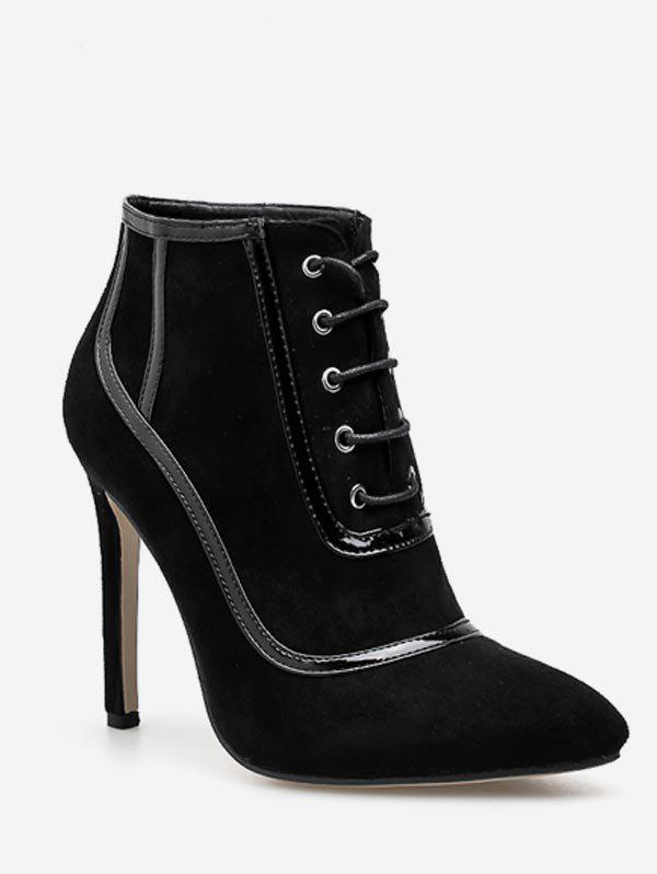 Chic Lace Up Heeled Suede Ankle Boots