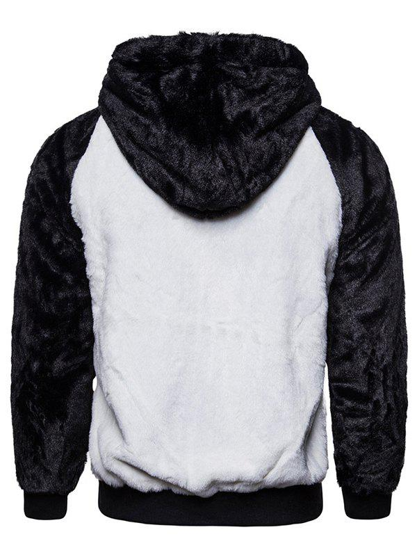 Online Casual Men's Black And White Contrast Color Fluffy Warm Hoodie