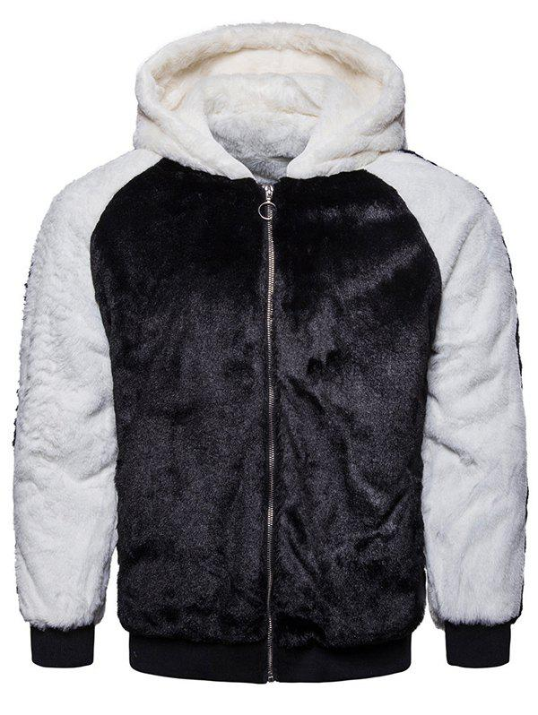 Hot Casual Men's Black And White Contrast Color Fluffy Warm Hoodie