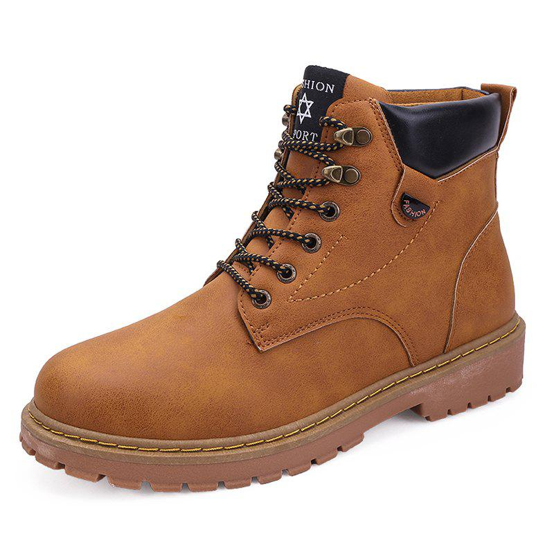 Chic Men Leisure Boots Comfortable High-top Lace-up