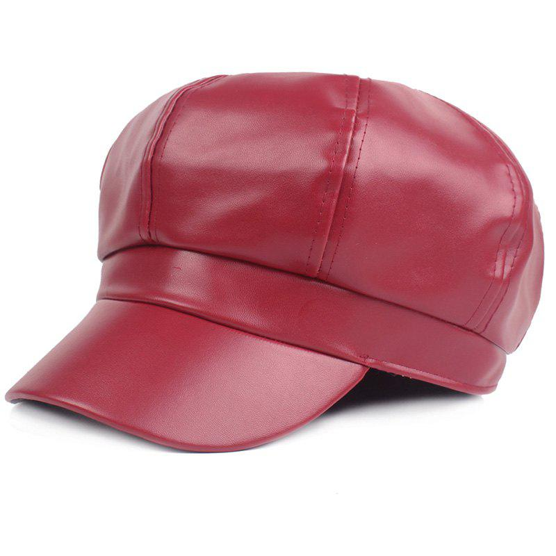 Affordable Leather Octagonal PU Warm Retro Cap