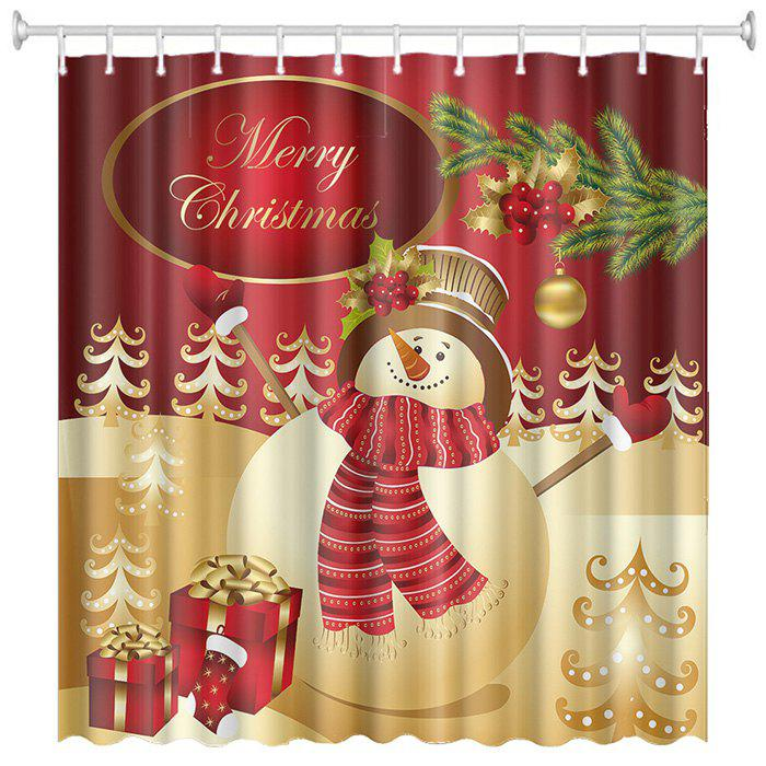 Christmas Print Pattern Waterproof Breathable Mildew Bathroom Partition Shower Curtain