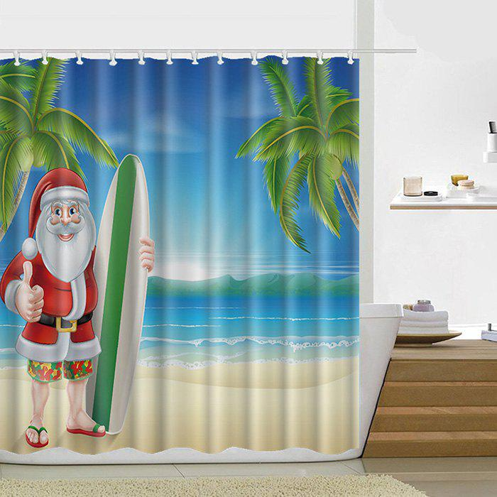 Latest 180 x 180cm Happy Christmas Theme Shower Curtain Santa Claus Snowman Gift Decorative Lantern Tree