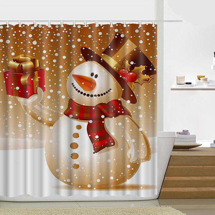 Unique 180 x 180cm Happy Christmas Theme Shower Curtain Santa Claus Snowman Gift Decorative Lantern Tree