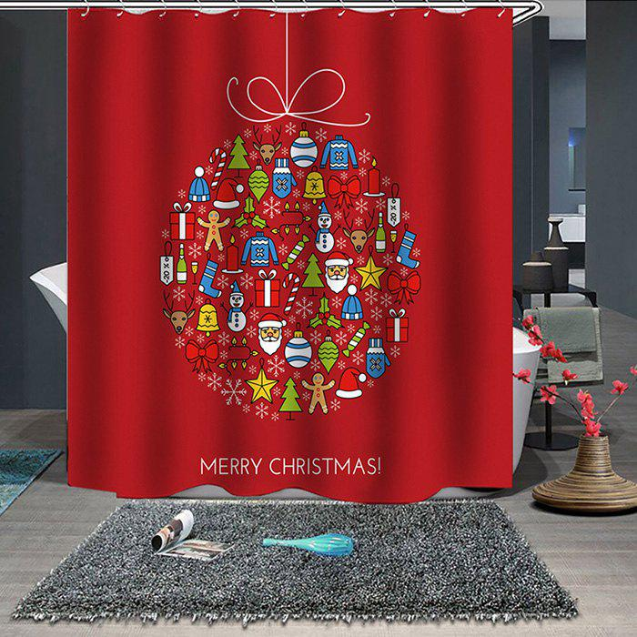Outfits 180 x 180cm Christmas Print Pattern Waterproof Breathable Bathroom Partition Shower Curtain