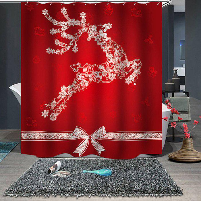 Trendy 180 x 180cm Christmas Print Pattern Waterproof Breathable Bathroom Partition Shower Curtain
