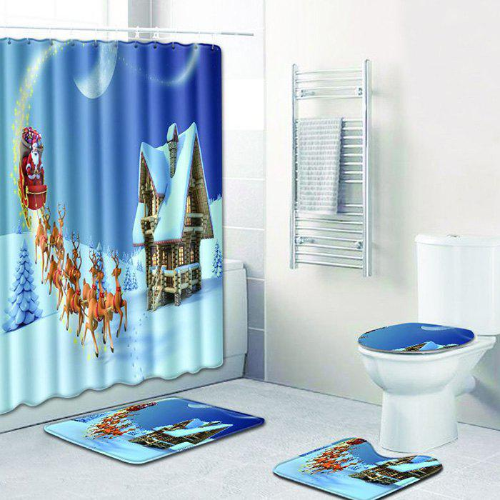 Store Christmas Bathroom Shower Curtain Floor Mat Toilet Seat Cushion Toilet Mat