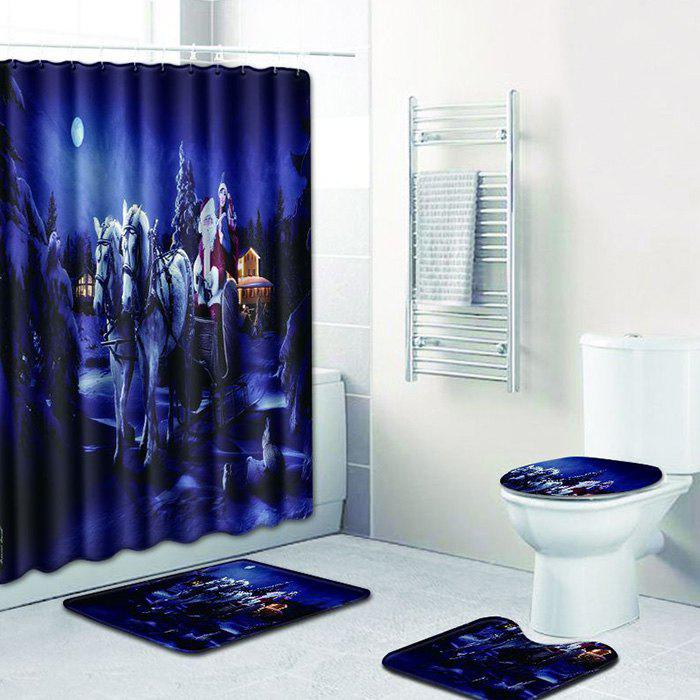 Christmas Bathroom Shower Curtain Floor Mat Toilet Seat Cushion Toilet Mat