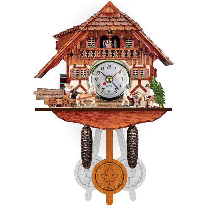 Vintage Small 3D Wooden Cuckoo Wall Pendulum Clock Многоцветный-С
