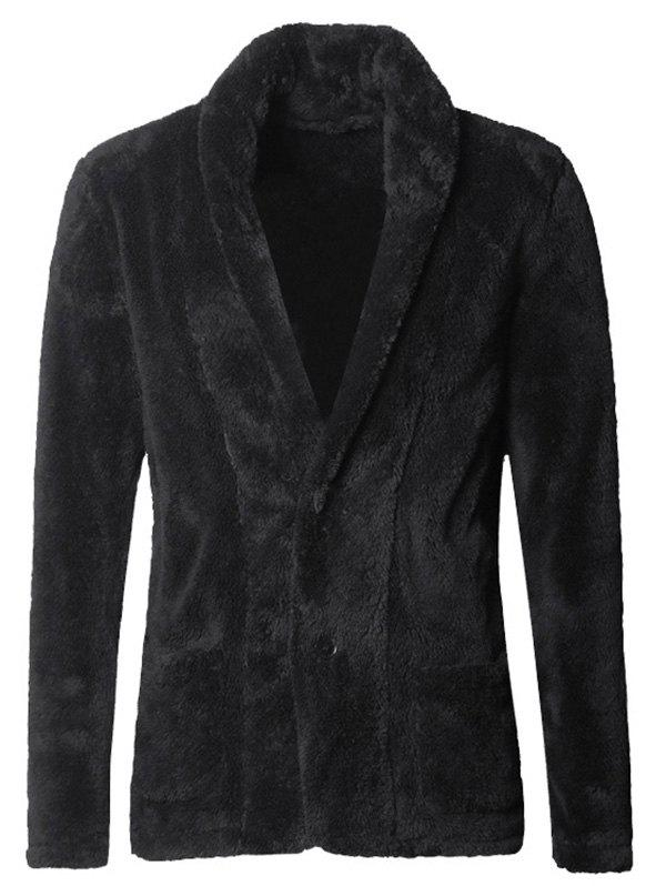 Trendy Men Fashionable Thicken Plush Cardigan Suit Jacket