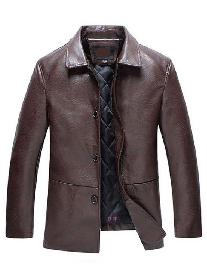 Shops Collar Quilted Thick Middle-aged Leather Jacket