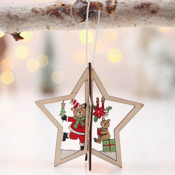 Sale 3D Stereo Christmas Tree Pendant Wooden Openwork Christmas Tree Bells Ornaments