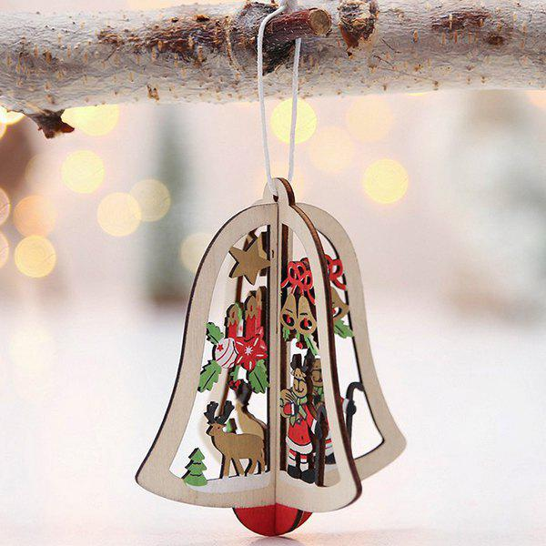 Unique 3D Stereo Christmas Tree Pendant Wooden Openwork Christmas Tree Bells Ornaments