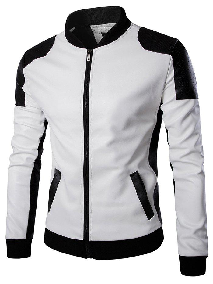 Latest Men's Stand Collar Leather Trend Black Jacket