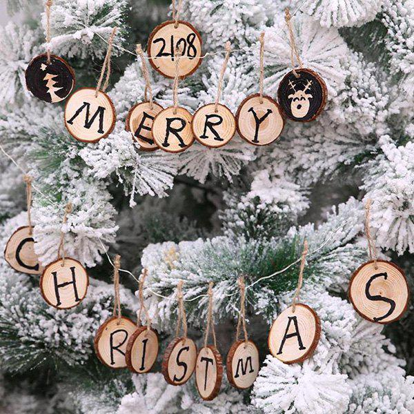 Trendy Christmas Tree Pendant DIY Painting Board Solid Wood Round Christmas Decoration 10pcs