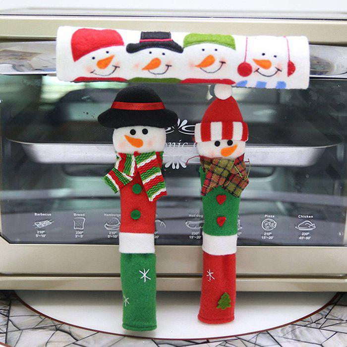 Fancy Christmas Home Decor Microwave Door Handle Cover Anti-static Protective Case 3pcs