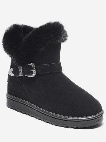 Engraved Buckle Faux Fur Snow Boots