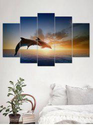 Sunset Dolphin Print Unframed Split Canvas Paintings -