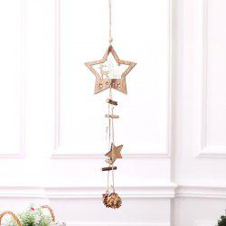 Christmas Supplies Wooden Five-pointed Star Hanging Rope Pine Cone Decoration Pendant -